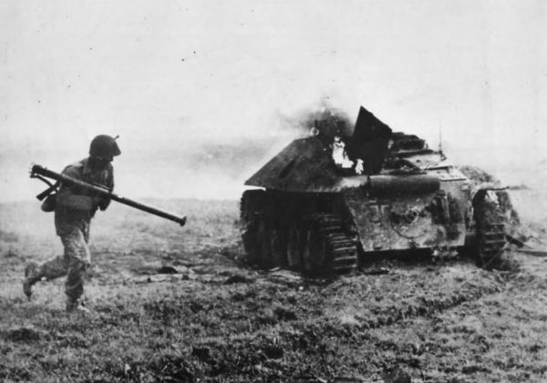 Knocked out Hetzer Compliments of the US 29th Infantry Division – 1944
