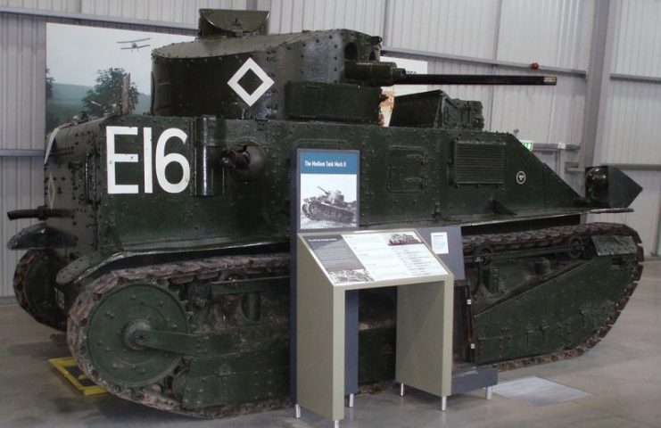 Vickers Medium Mark II at the Bovington Tank Museum.Photo DAVID HOLT CC BY-SA 2.0
