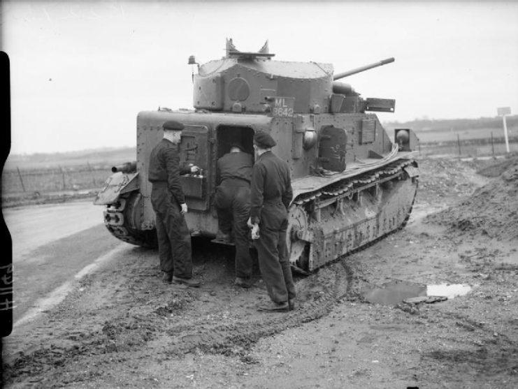Vickers Medium Mk II tank of the Royal Tank Regiment at Farnborough, 1940.