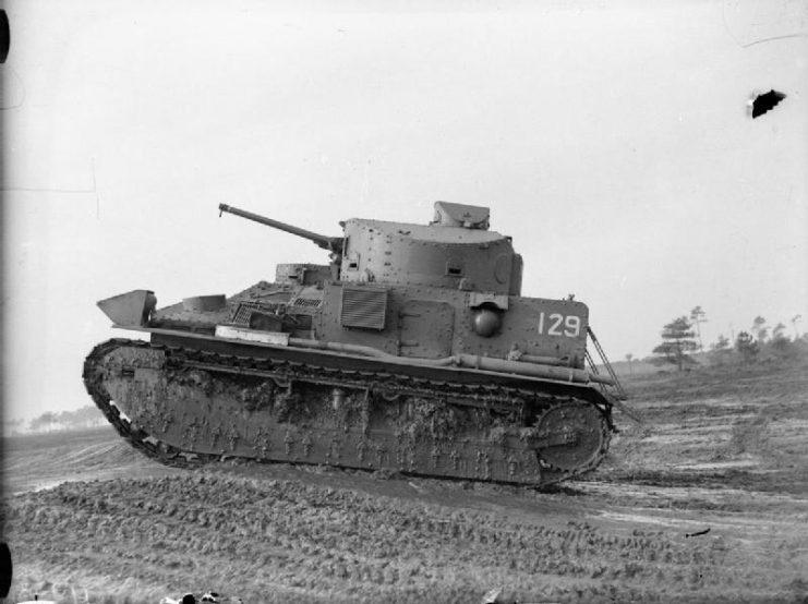 Vickers Medium Mk II tank of the Royal Tank Regiment on manoeuvres at Bovington Camp, Dorset, November 1939.