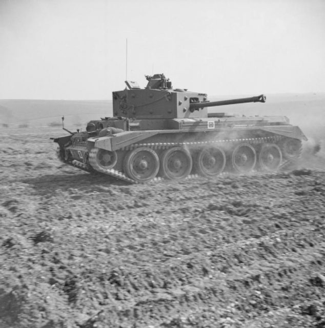 A Cromwell IV of the Welsh Guards displays its speed at Pickering in Yorkshire, 31 March 1944