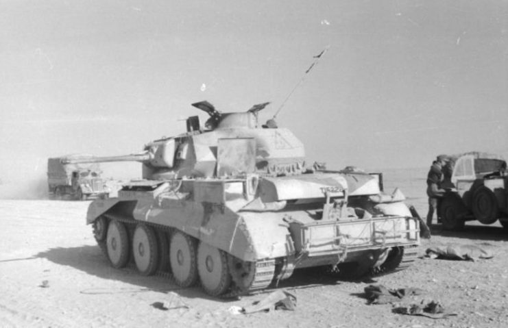 A Cruiser Mk IV tank destroyed in the North African Campaign.