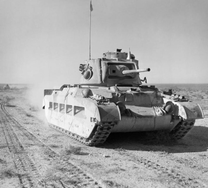 A Matilda advancing through Egypt as part of Operation Compass.