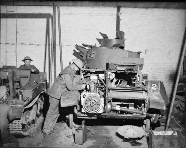 A Mk VI undergoing maintenance, France 1940. The location of the engine, beside the driver, can be seen