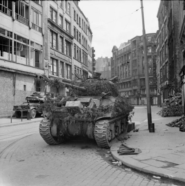 A Sherman Firefly of 7th Armoured Division in Hamburg, 4 May 1945