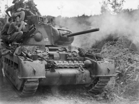 An Australian, howitzer-equipped Matilda of the 2 9th Armoured Regiment in combat at the Battle of Tarakan (May 1945)