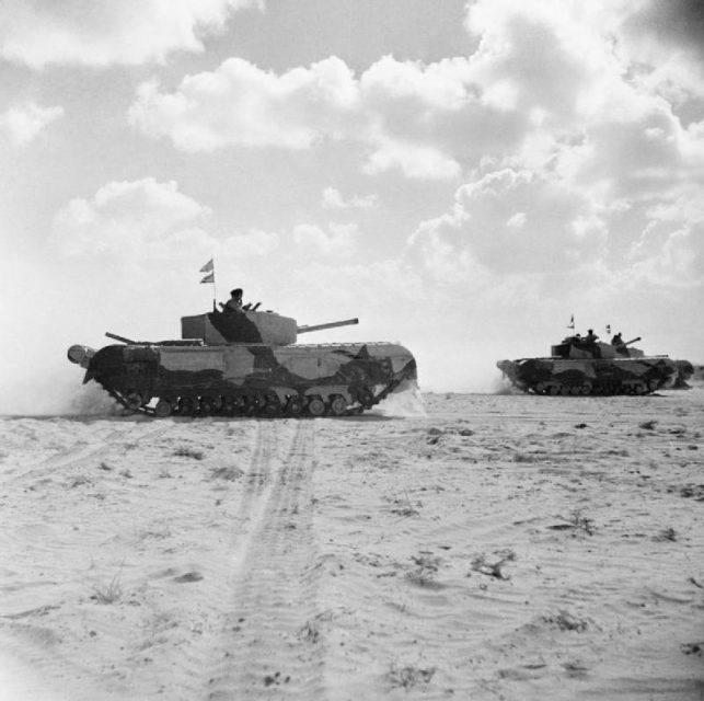 Churchill Mark III tanks of 'Kingforce' during the 2nd Battle of El Alamein