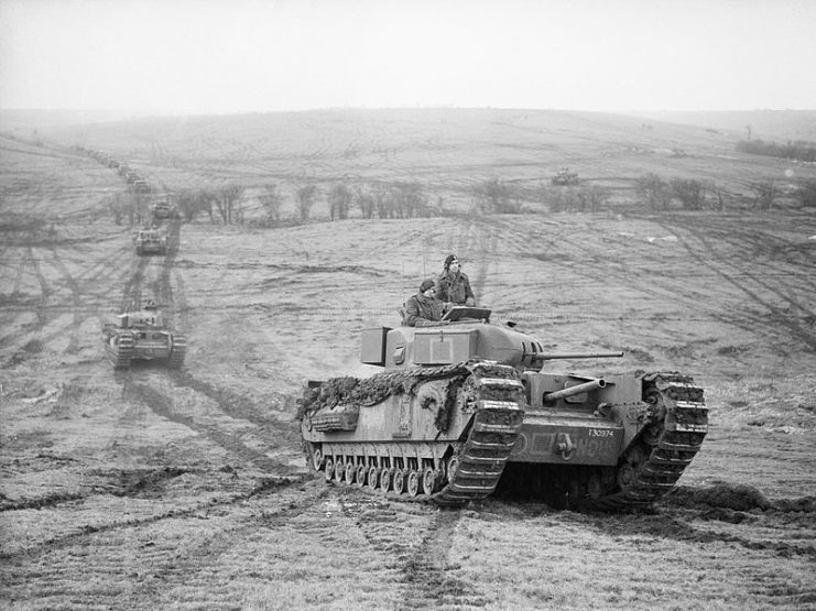 Churchill tanks of 9th Royal Tank Regiment during an exercise at Tilshead on Salisbury Plain, 31 January 1942