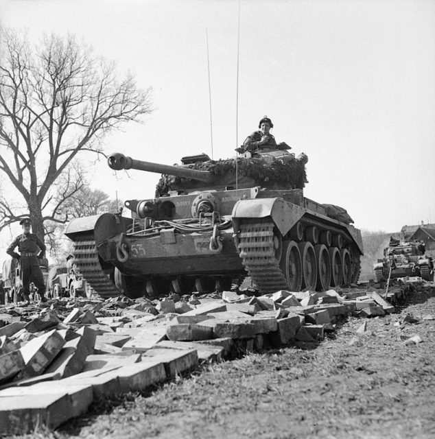 Comet tanks of the 2nd Fife and Forfar Yeomanry, 11th Armoured Division, crossing the Weser at Petershagen, Germany, 7 April 1945