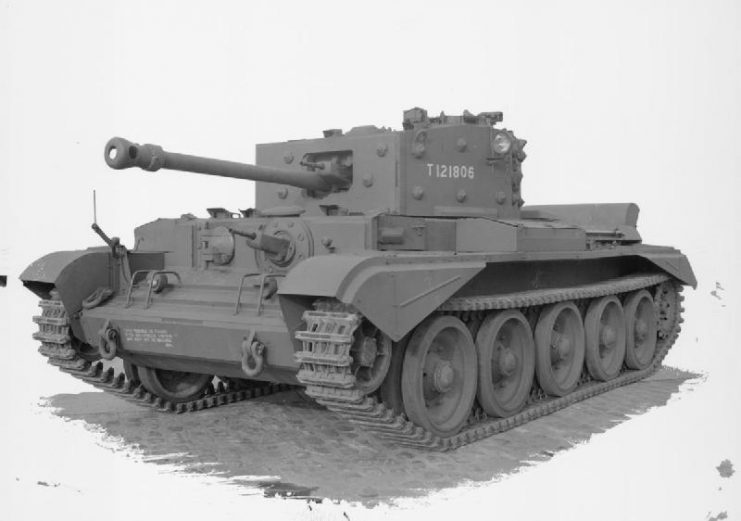 Cromwell VIIw with type Dw or Ew hull, showing welded construction with applique armour