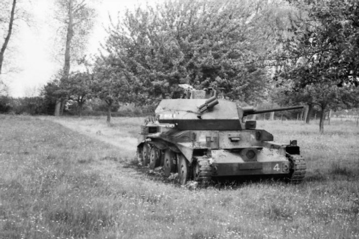 Cruiser Mk IV tank knocked out during an engagement on 30 May 1940