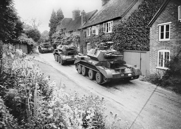 Cruiser Mk IV tanks of 5th Royal Tank Regiment, 3rd Armoured Brigade, 1st Armoured Division.