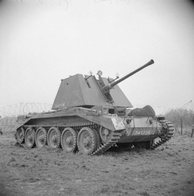 Crusader AA with 40 mm Bofors gun, at the Armoured Fighting Vehicle School, Gunnery Wing at Lulworth in Dorset, 25 March 1943