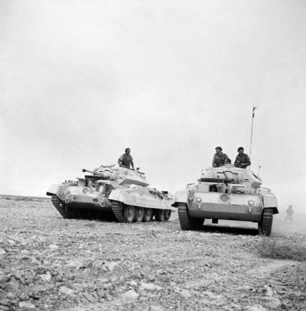 "Crusader I tanks in Western Desert, 26 November 1941, with ""old"" gun mantlets and auxiliary Besa MG turret."