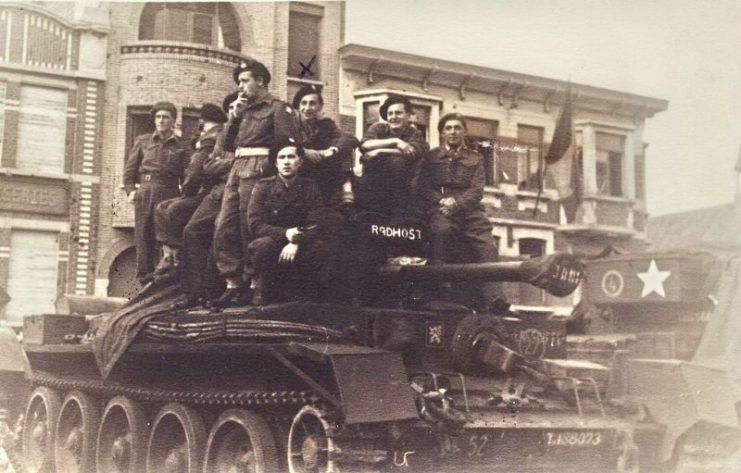 Czechoslovak soldiers on a Cromwell tank near Dunkirk in 1945.