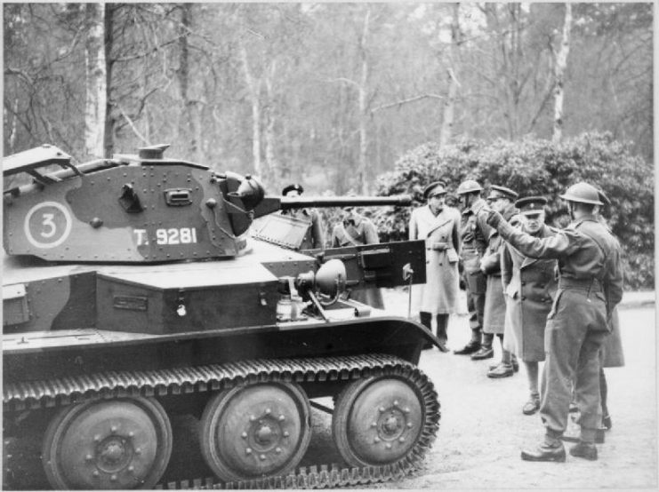 General Sir Alan Brooke, Commander-in-Chief Home Forces, inspecting a Light Tank Mk VII (Tetrarch) at the Army Staff College, 1941