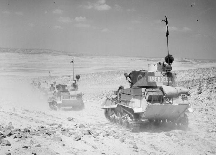 Vickers light tanks cross the desert, 1940